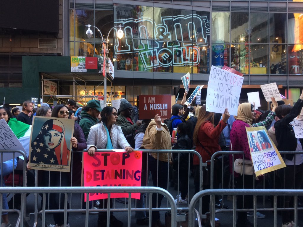 &quot;America is divided but NYC is united...it&#39;s not enough to pray, we have to protest.&quot; #IamMuslimtoo #protest #resist #Muslimtravelban<br>http://pic.twitter.com/mM9pH1ShJu