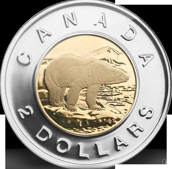 #EnCeJour en 1996, la @Monnaieroyale a mis en circulation la pièce de 2$. L'emblématique ours polaire fut créé par Brent Townsend #Canada150  <br>http://pic.twitter.com/8MJySNX4cZ