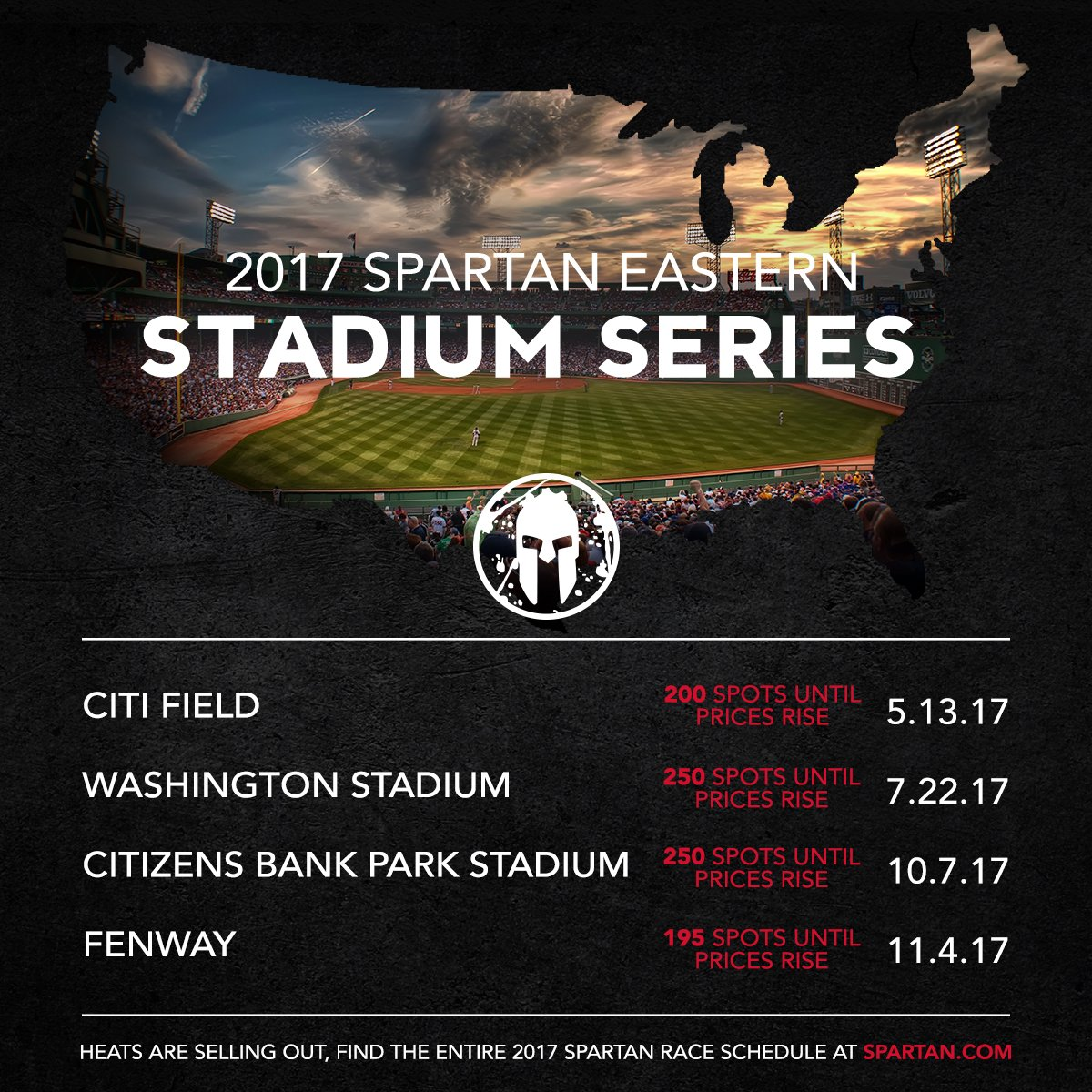 East Coast Spartans: your Stadium Series race prices are rising soon....