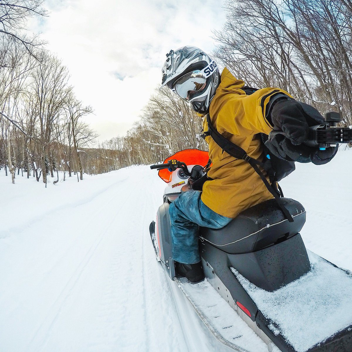 #GoProFamily member, Howard from GoPro Japan getting ready to fire up the #snowmobiles into a beautiful sunset.