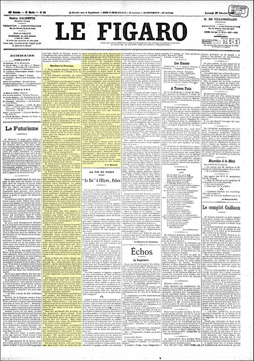 Era il #20febbraio 1909 quando veniva pubblicato il #ManifestoDelFutur...