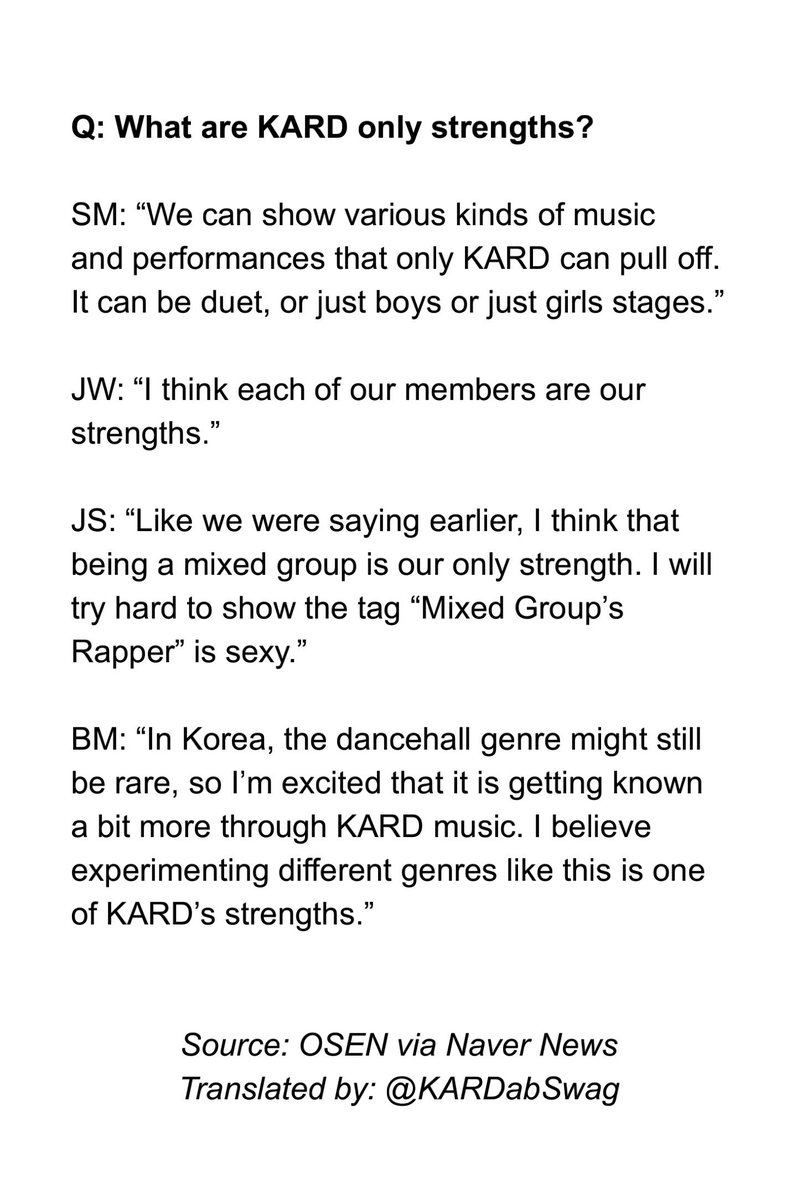 k a r d swaaaag kardabswag twitter interview translation k a r d interview osen news 2 kard 카드 kard official take out credits pic twitter com lsfoilrajz