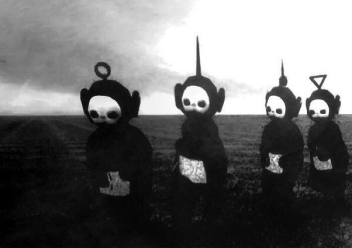 The Teletubbies in black and white looks like something straight out o...