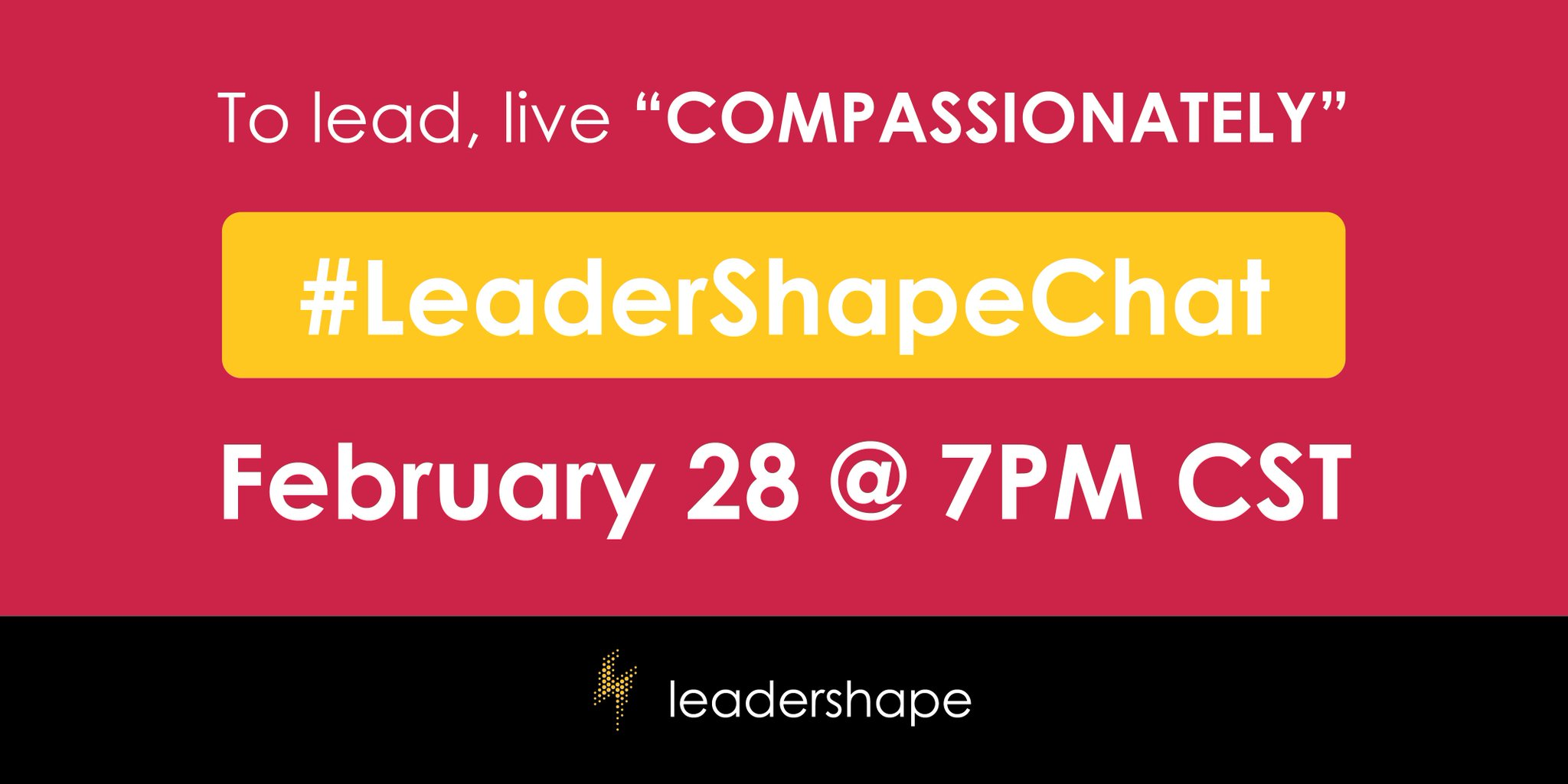 Compassion, self-care and leadership - you don't want to miss our next #LeaderShapeChat! https://t.co/0z7mGtXxSZ