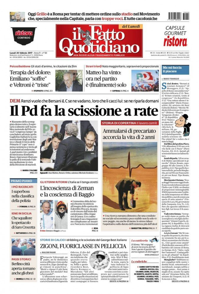 IL PD FA LA SCISSIONE A RATE https://t.co/Zg7CjPLPQP #FattoQuotidiano...