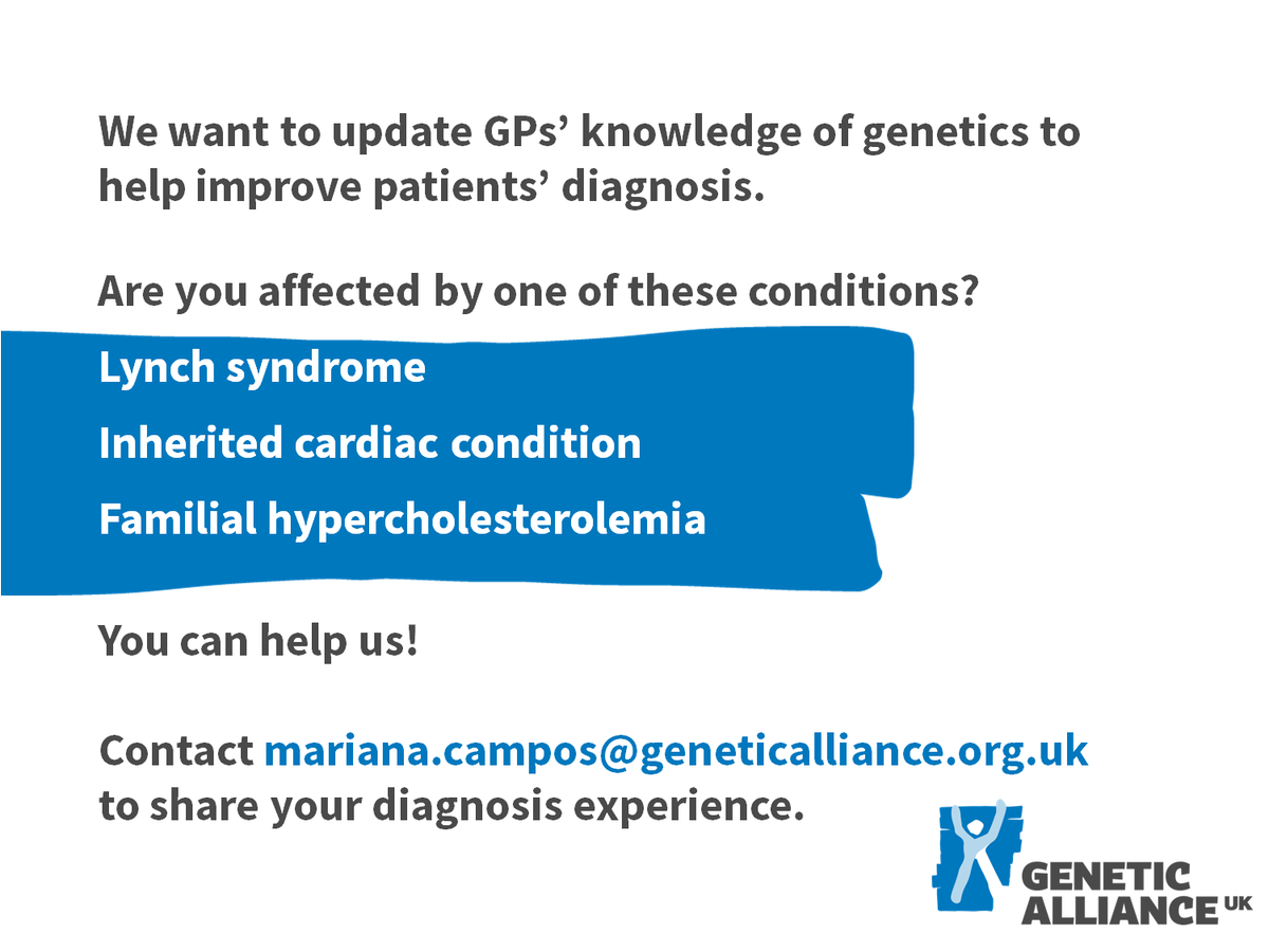 Could you help us update GPs&#39; knowledge of genetics? @LynchSyndromeUK #RareDisease #Genetics<br>http://pic.twitter.com/mMPmLhe0jX