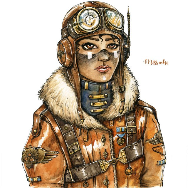 #Illustration Awesome of the Day: Watercolor & Ink Female Fighter Pilot #Steampunk #Artwork by @miss_aoki #SamaArt