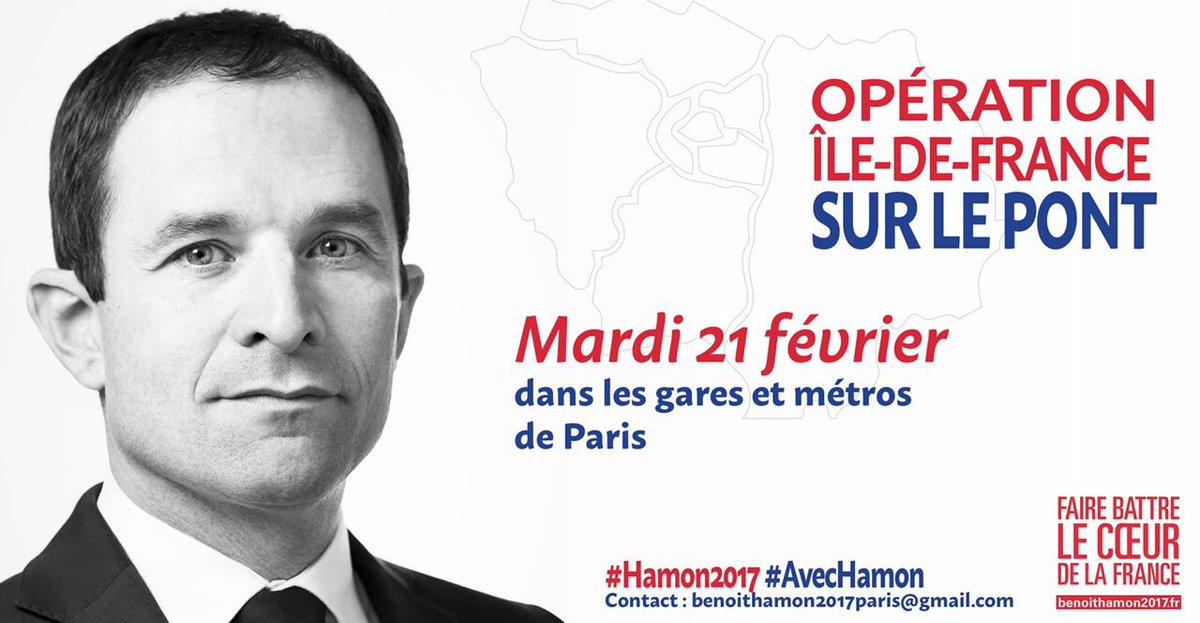 Demain opération Ile-de-France sur le pont #AvecHamon !  Mobilisé.e.s pour porter le projet #Hamon2017   #Presidentielle2017 <br>http://pic.twitter.com/VHrEqmR65G