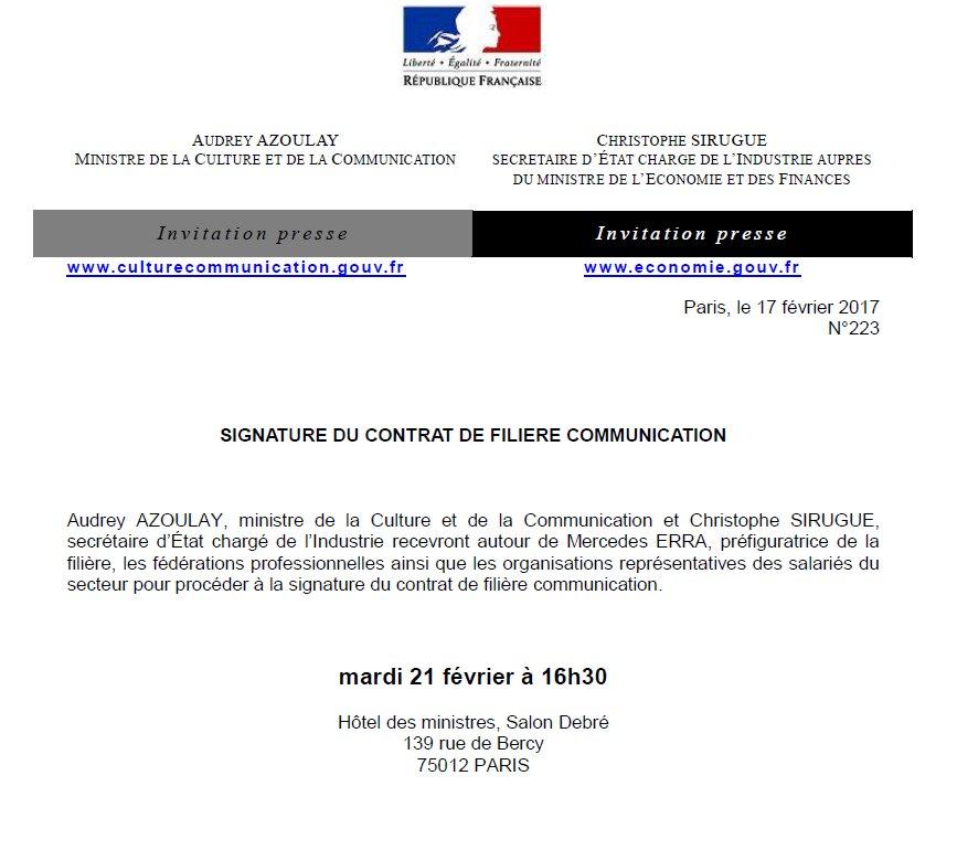 #SaveTheDate 21/02 16h30 : signature du contrat de filière #communication à Bercy avec @chsirugue et @AAzoulay  … http://proxy -pubminefi.diffusion.finances.gouv.fr/pub/document/1 8/22141.pdf &nbsp; … <br>http://pic.twitter.com/zutkz9d9CK