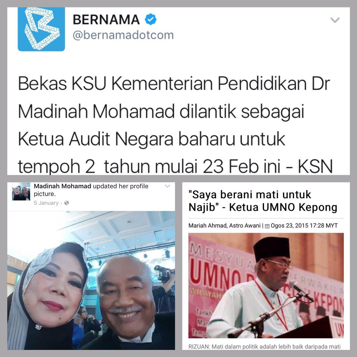 """Suami """"berani mati untuk Najib"""". Isteri bakal jadi Ketua Audit Negara. https://t.co/xKUmnFZiUa"""