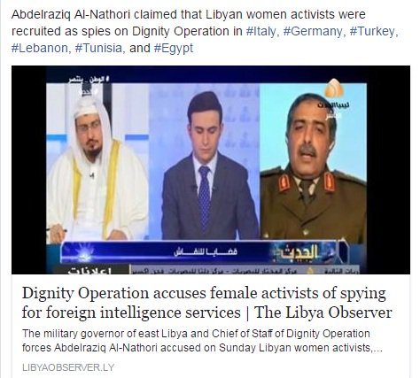 Dignity Operation accuses female activists of spying for foreign intelligence services  https://www. libyaobserver.ly/news/dignity-o peration-accuses-female-activists-spying-foreign-intelligence-services &nbsp; …   #Italy #Germany #Turkey <br>http://pic.twitter.com/y03Yi7Og2R
