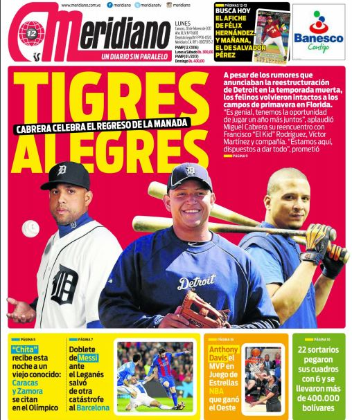 #PortadaMeridiano de este #20Feb  Tigres alegres | | Cabrera celebra e...