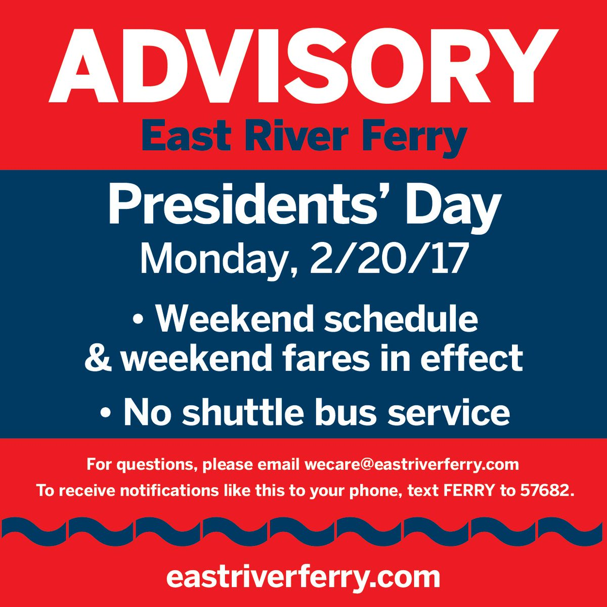 "east river ferry on twitter: ""please note that we will be running on"