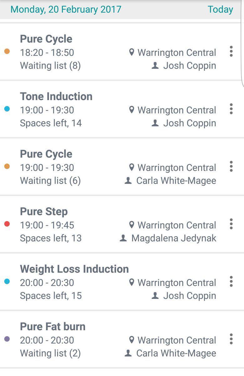 Tonight's Class list.. for all abilities #fitness #classes #puregym #w...