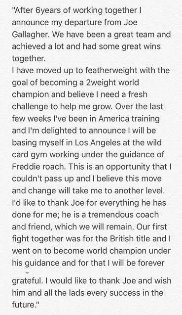 Announcement below regarding a change to my training team https://t.co/PMsuXSVdmu