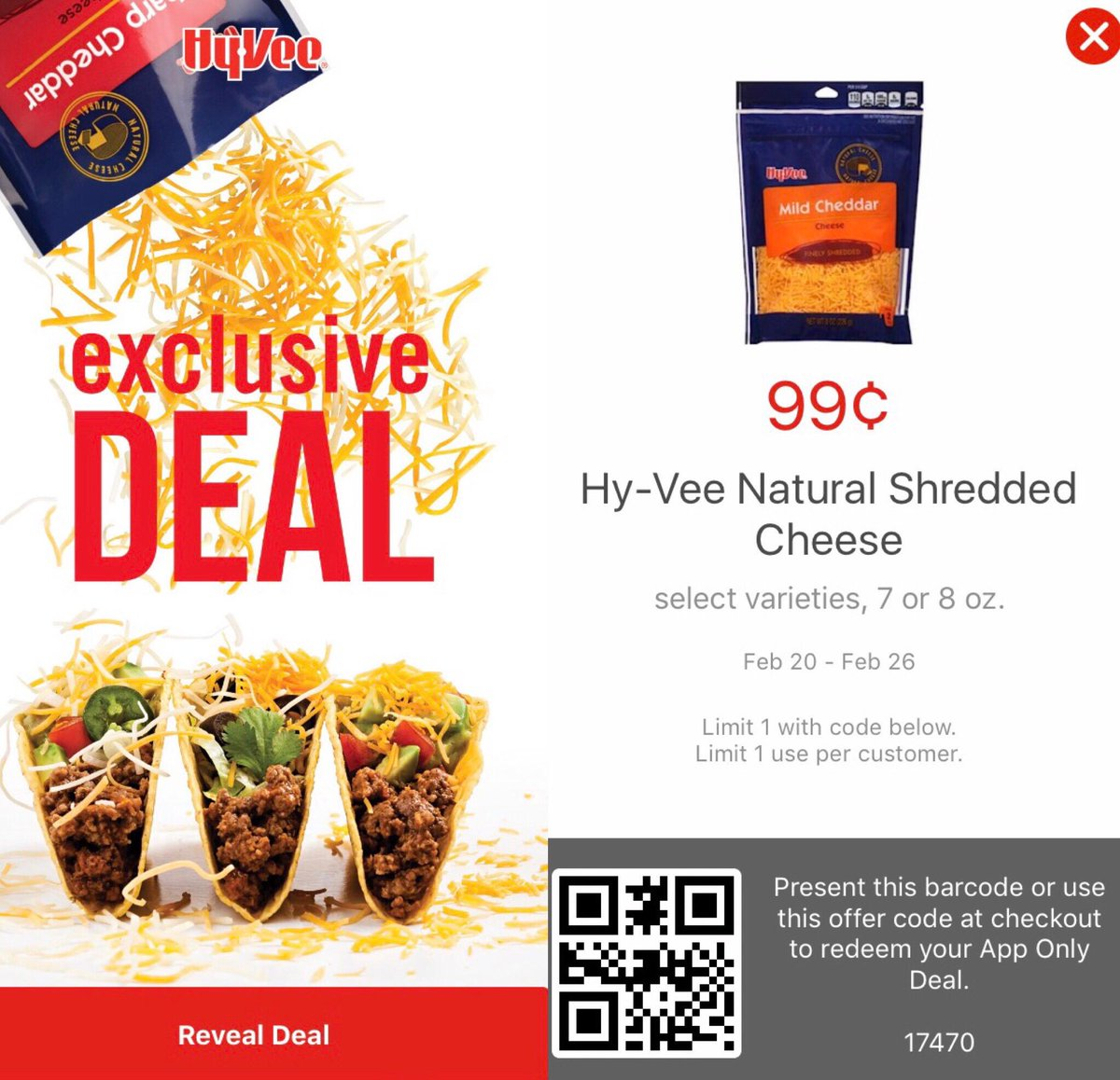 Cheese please! Be sure to download the Hy-Vee app to get this exclusiv...