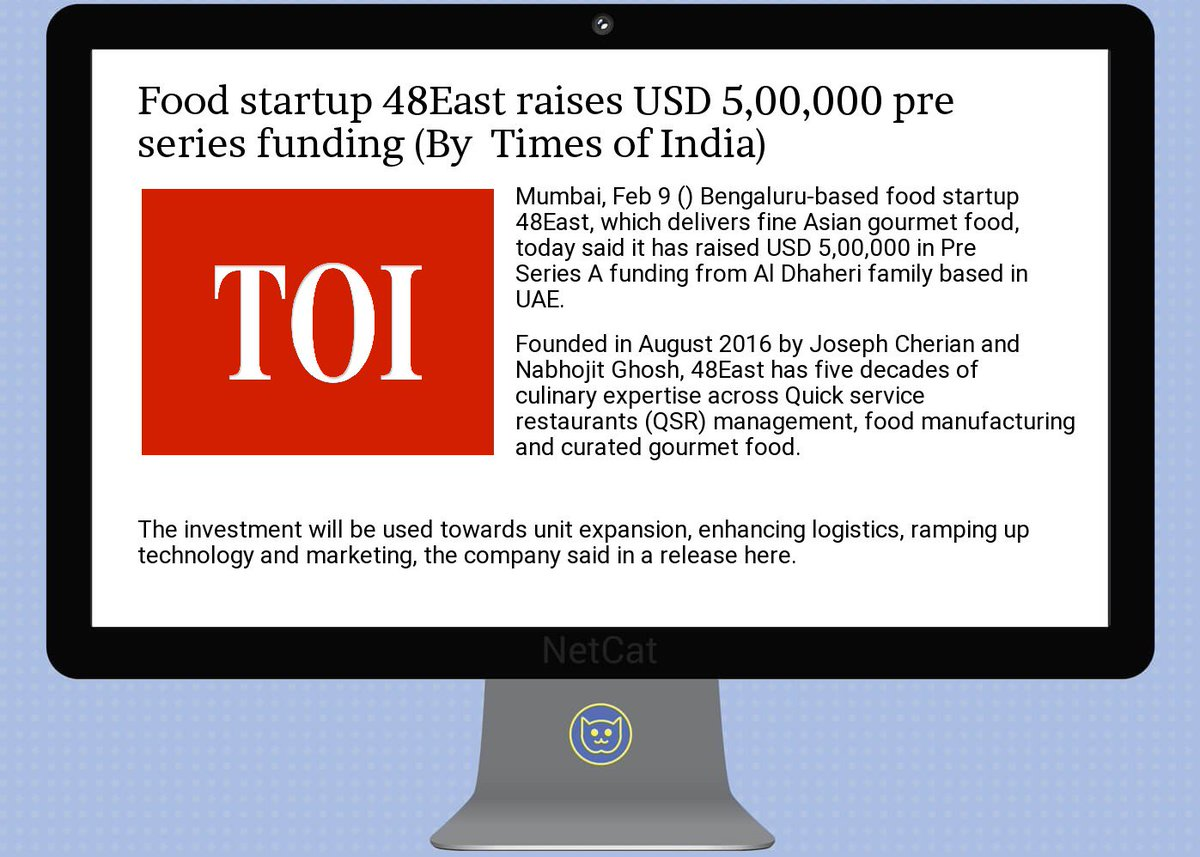 #startup #summary:  #food  #startup 48 #east raises  #usd 5,00,000  #pre  #series  #funding<br>http://pic.twitter.com/pSYOTonOA5