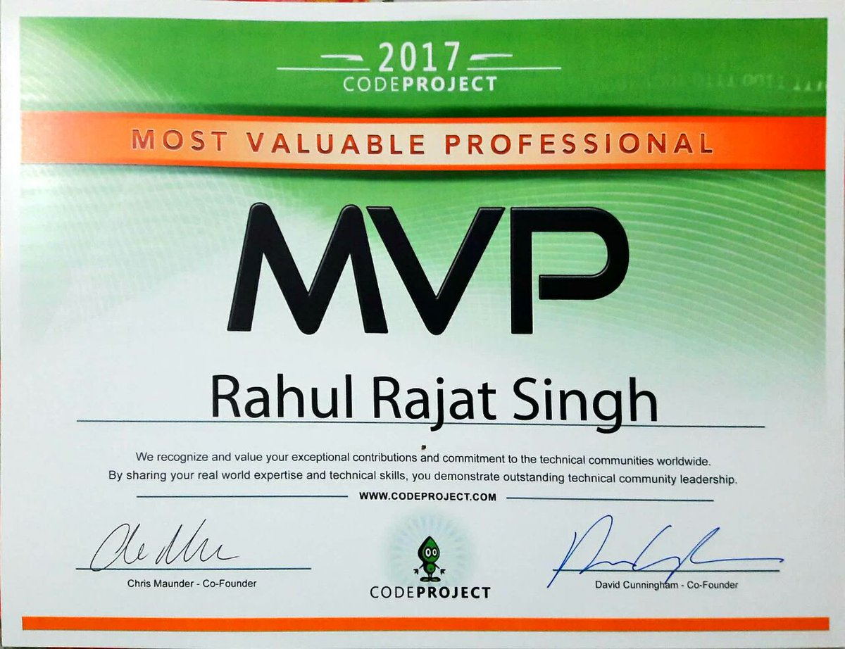 rahul singh on twitter got my new codeproject mvp certificate