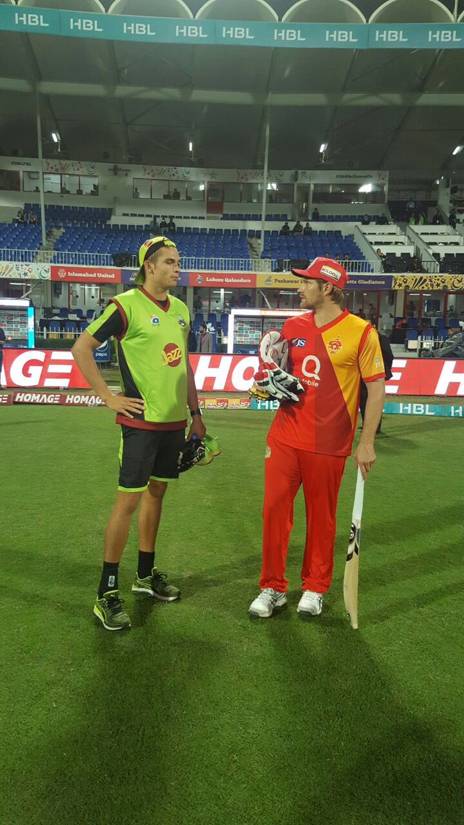 Australian buddies have a chat before they meet as foes on the field!...
