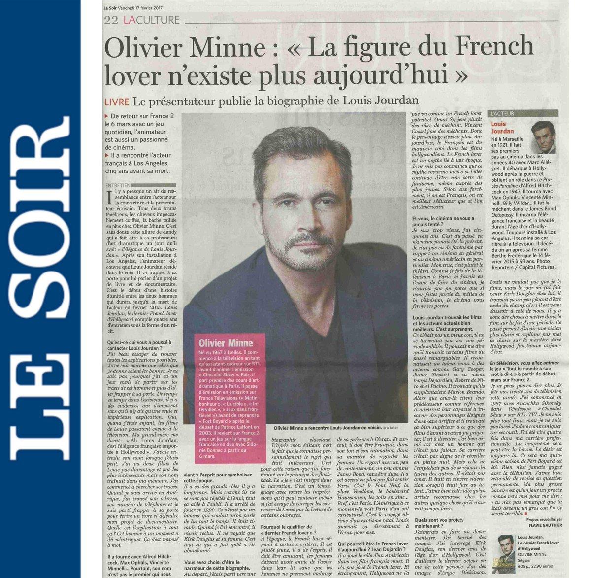 Portrait @olivierminne pleine page ds @lesoir pr sortie #biographie   http:// bit.ly/2hQr2rV  &nbsp;   sur #LouisJourdan #frenchlover  #hollywood <br>http://pic.twitter.com/3CNf3piDQy