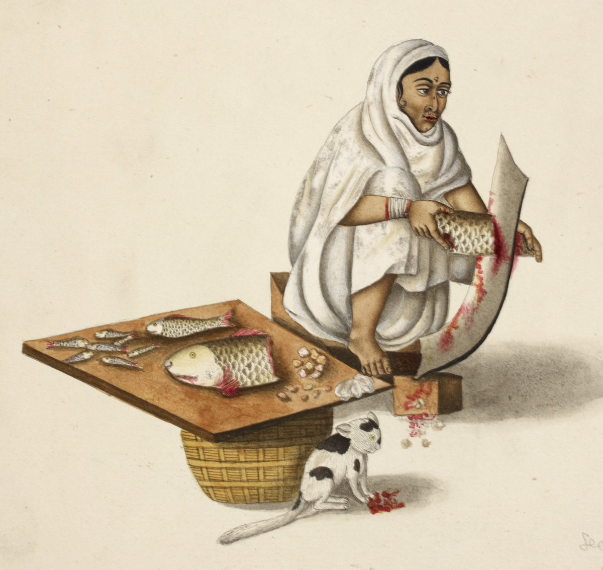 *Lunchtime* A fishmonger and her cat. Murshidabad, c. 1798. British Library, Add Or 1231. #MewseumMonday