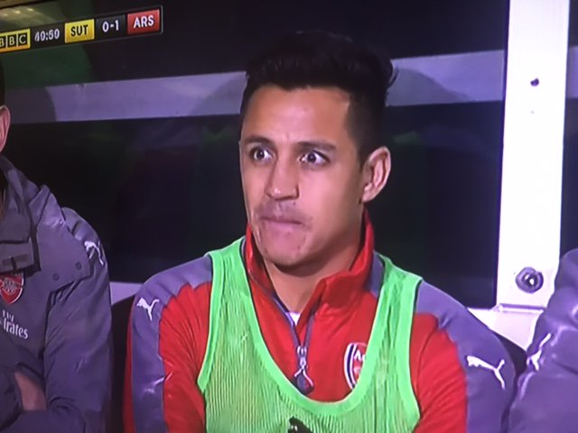 Alexis Sanchez with the look of a man who went into the toilet after t...