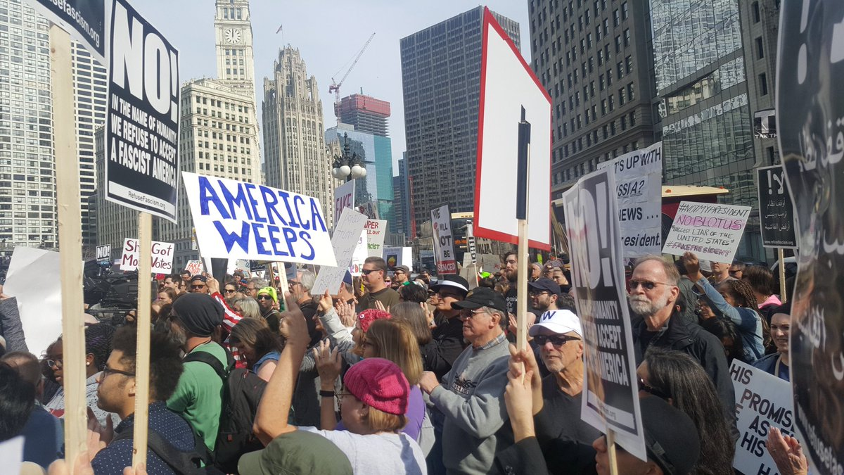 Hundreds already filling the area across from Trump Tower Chicago #NOTMYPRESIDENTSDAY