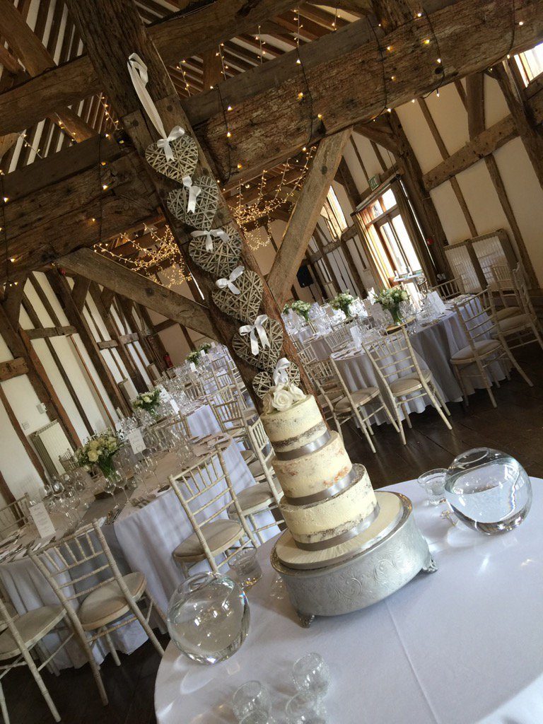 Lovely #romantic set up in the #barn @LoseleyPark @Loseleyevents with fairy lights & delicate #floral decorations