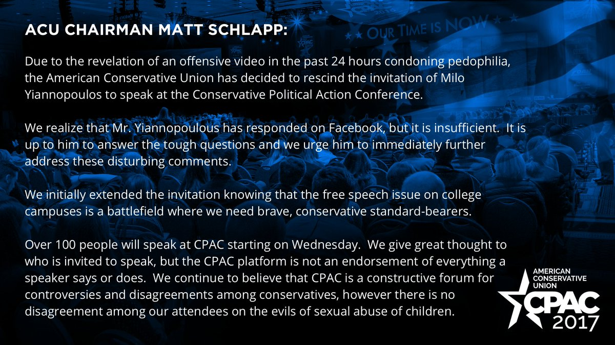 matt schlapp on acuconservative has decided to rescind matt schlapp on acuconservative has decided to rescind the invitation of milo yiannopoulos to speak at cpac2017 t co svwgnpcw7c