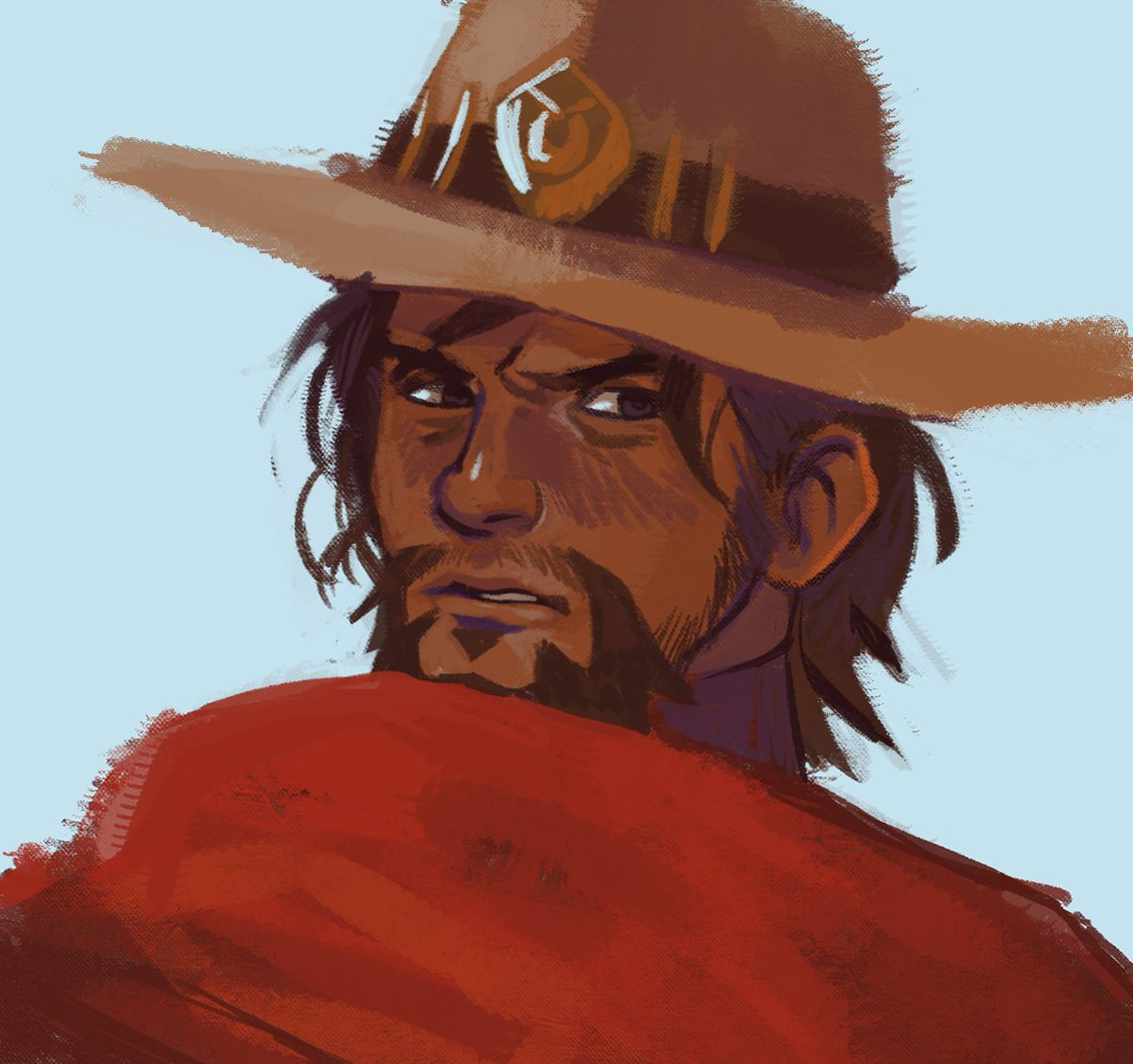 I made myself a McCree brush and I drew this.. #Overwatch #illustration