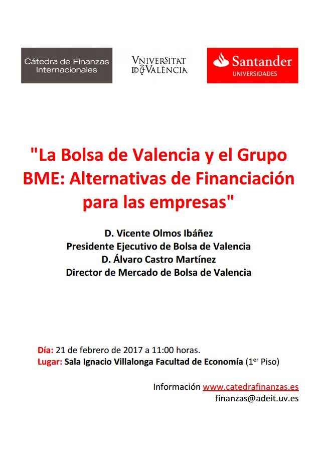 """""""La Bolsa de Valencia y el Grupo BME: Alternativas de Financiación para las empresas."""" Mañana seminario de #VicenteOlmos y #ÁlvaroCastro. https://t.co/JQ5fZu0eMI"""