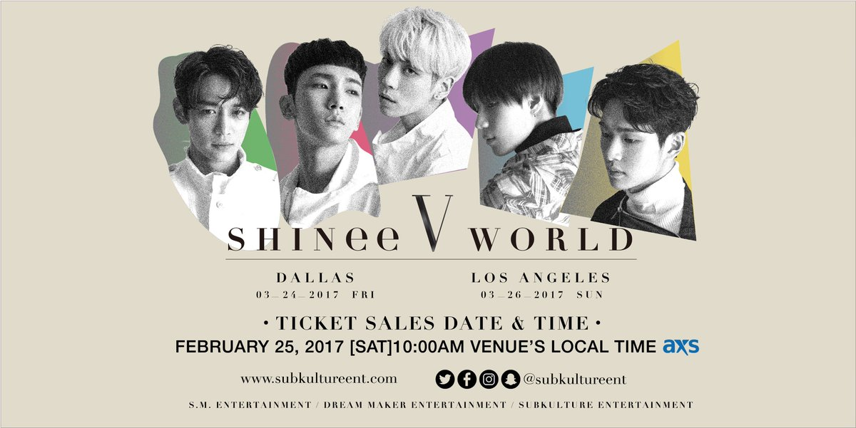 Visit https://t.co/bsm2so8BUE for all the info u need to know about #SHINeeWorldinUSA tix sales for this Sat, 2/25, 10AM Venue's Local Time! https://t.co/rrsYss9qXJ