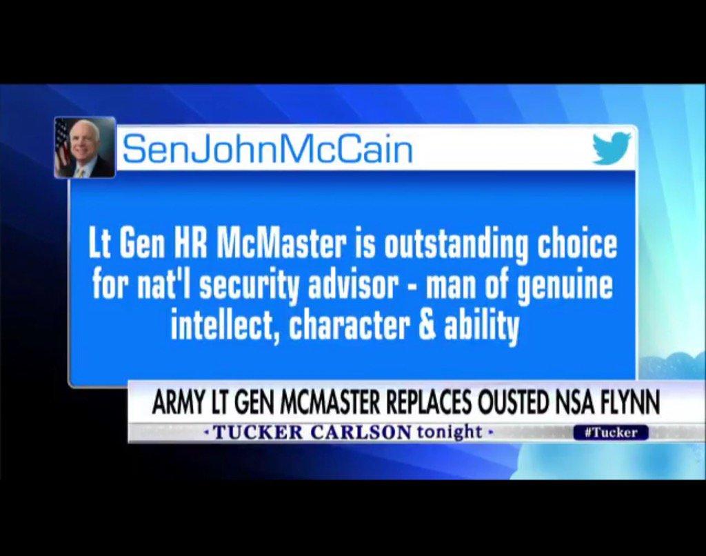 #McCain salue nomination du Général #McMaster &quot;Il a le caractère et le talent&quot;Connu pour être sceptique envers Moscou<br>http://pic.twitter.com/1f2hdRJGNW