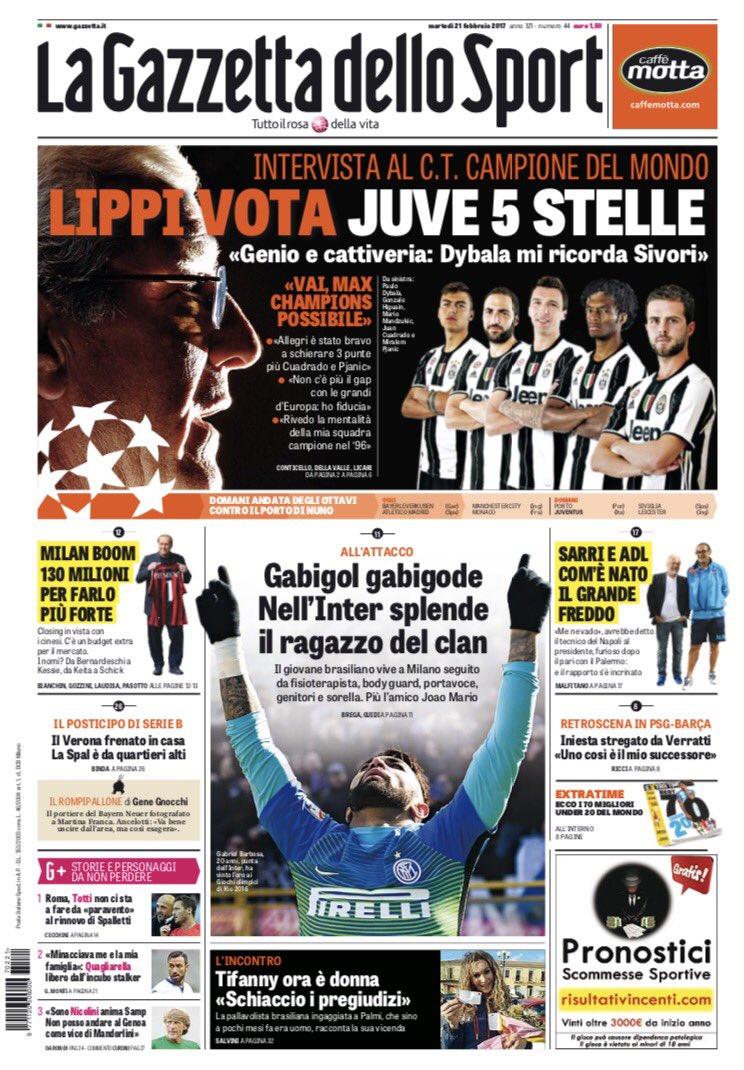 I giornali sportivi di oggi #21febbraio https://t.co/jTZ7O4UiGR