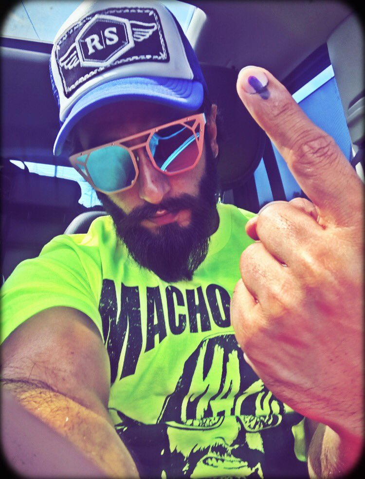 #BMCelection : Bollywood actor Ranveer Singh flaunts his inked finger...