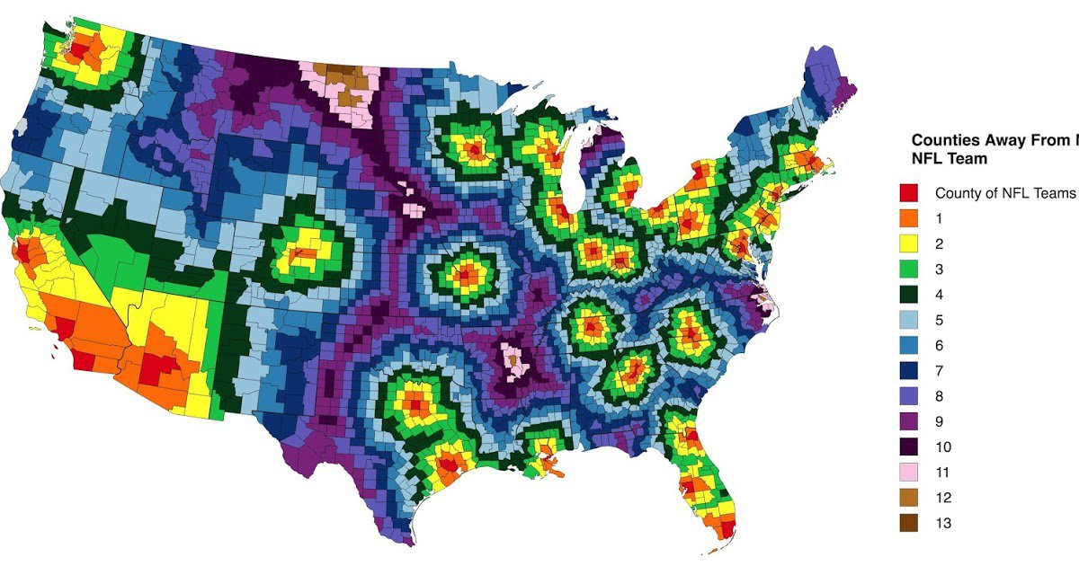 Vivid Maps On Twitter US Counties Away From Nearest NFL - Nfl team us map