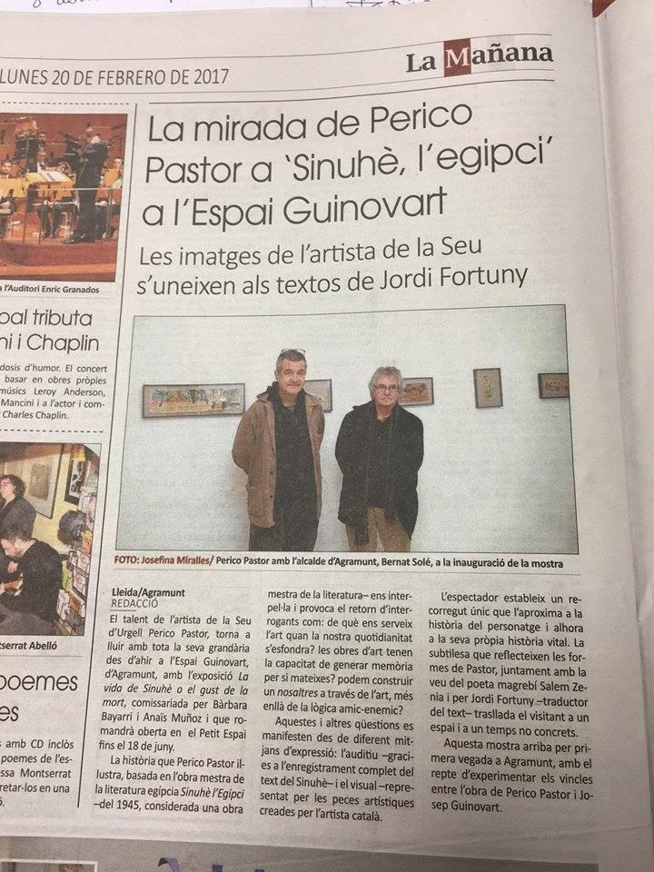 el diari de @LaManyanacat ha parlat de #PericoPastor i la seva nova expo de l&#39;#EspaiGuinovart d&#39;#Agramunt que podeu veure fins el 18 de juny <br>http://pic.twitter.com/3T1sVY8Eid
