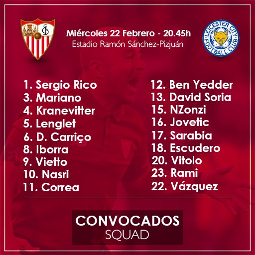 Champions: 1/8 (ida): Sevilla FC - Leicester City C5L9p3XWQAQtMDn