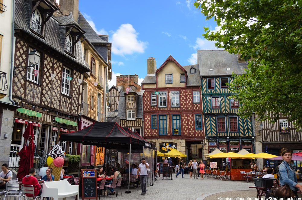 Get lost in the maze of streets in the medieval old town in Rennes and...