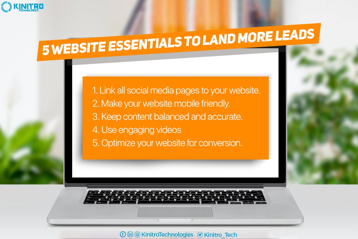 5 website essentials to land more leads! #Digitalmarketing #Socialmedia #Seo https://t.co/AxpzVUizog