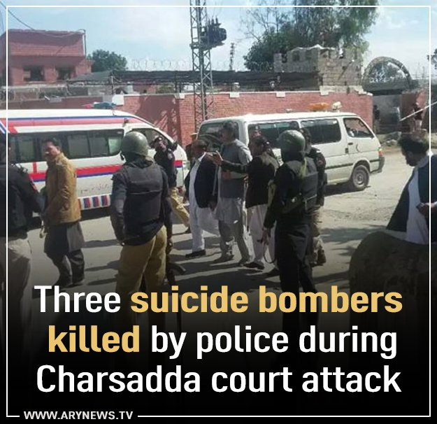 Three suicide bombers killed by police during #Charsadda court attack...