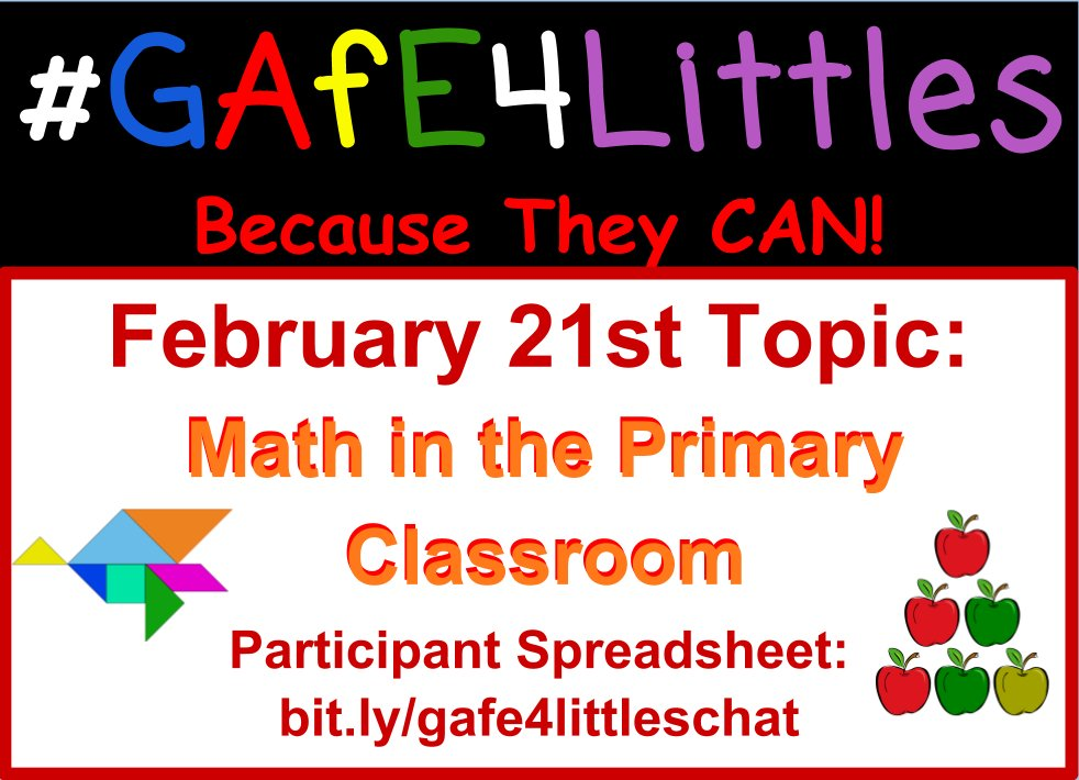 #GAFE4Littles chat in ONE HOUR 5 PM PST! Here is the participant spreadsheet: https://t.co/Yh2qbFkC6C https://t.co/m4kEDLPPdq