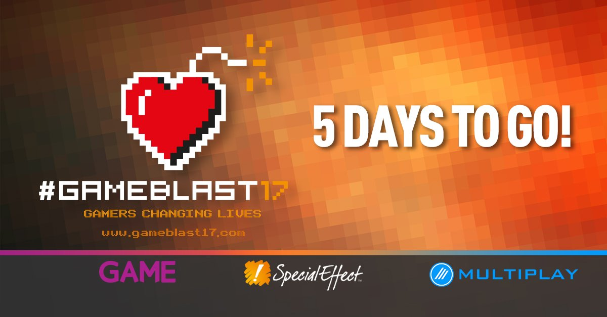 #CharityTuesday Got your streams ready? 5 more days until #GAMEBLAST17...