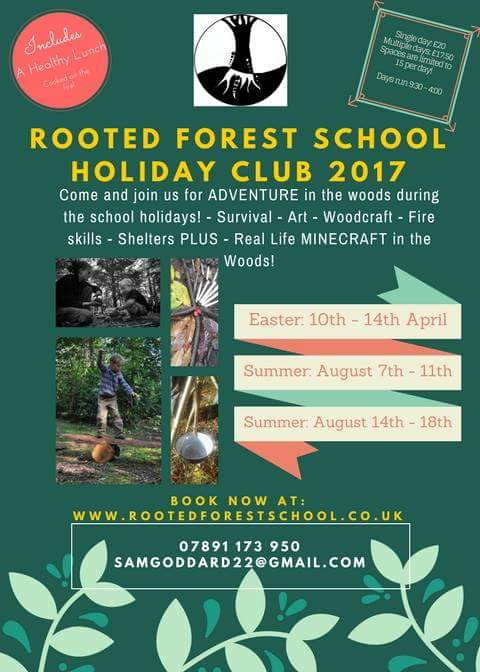 We&#39;re pleased to announce our new and improved #forestschool holiday club for 2017! Contact  http://www. rootedforestschool.co.uk  &nbsp;   to book!<br>http://pic.twitter.com/JyMykwx2V6