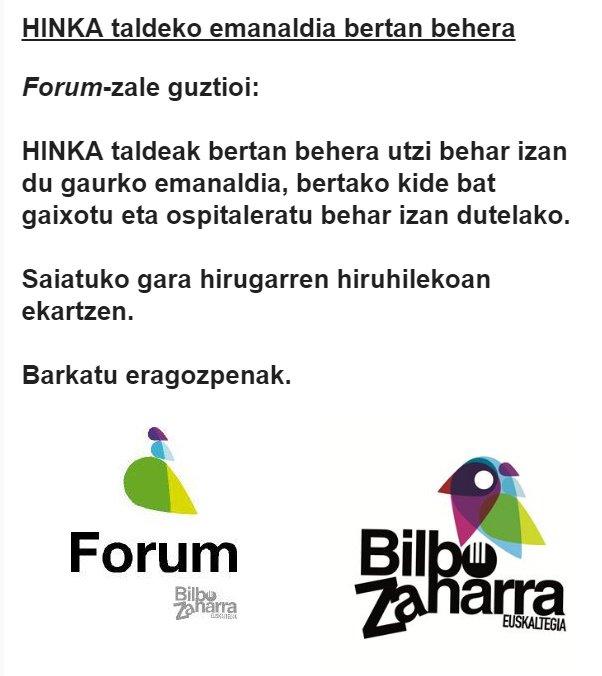 Gaurko HINKA taldearen emanaldia bertan behera
