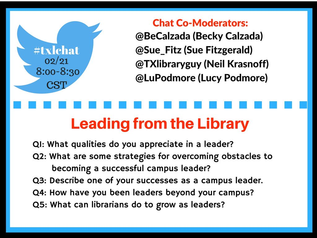 So excited to moderate this #txlchat tonight! I hope you'll join in & share 8:00 pm CST #tlchat #futurereadylibs https://t.co/0mAXUlpALA
