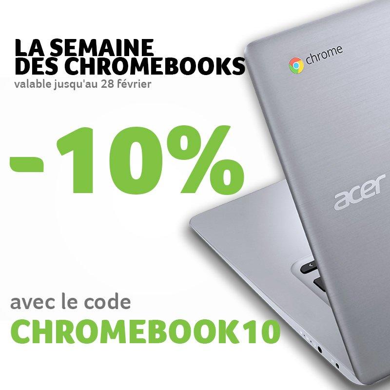 La semaine #Chromebook c'est maintenant ! Profitez d'une #remise de 10% en utilisant le code CHROMEBOOK10   https:// goo.gl/Zw07fR  &nbsp;   <br>http://pic.twitter.com/CqHvvcDCoq