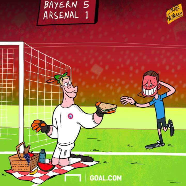 Some UK media reports suggested Manuel Neuer thought playing Arsenal w...