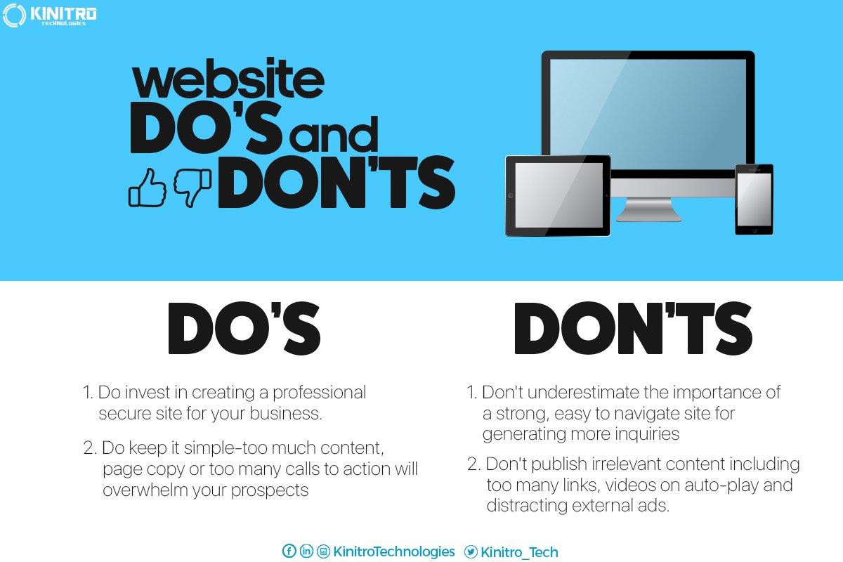 Website Do's and DON'Ts! #Websitedesign #Seo #Digitalmarketing https://t.co/BbeAPM9cR1