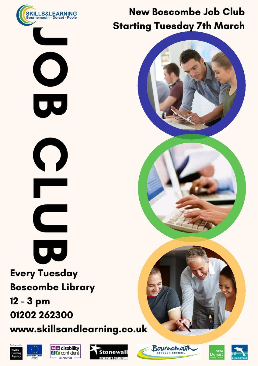bournemouthlibraries on twitter new job club boscombelibrary bournemouthlibraries on twitter new job club boscombelibrary starts 7th 12 3pm skills learning job clubs also westhowe winton springbourne